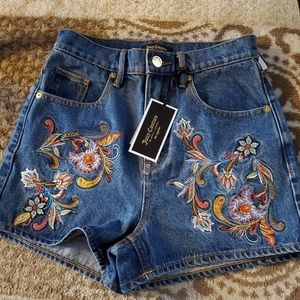 Juicy Couture Embroidered Jean Shorts